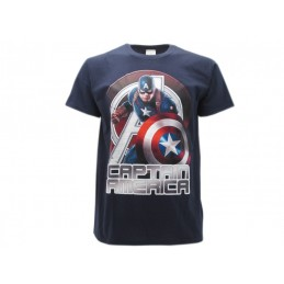 MAGLIA T SHIRT CAPTAIN AMERICA MARVEL AVENGERS AGE OF ULTRON BLU