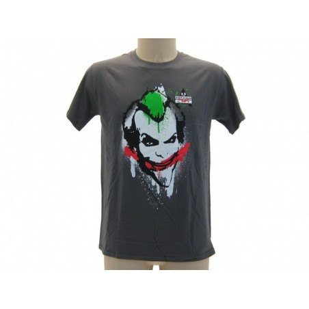 MAGLIA T SHIRT JOKER ARKHAM CITY SPRAY GRIGIA