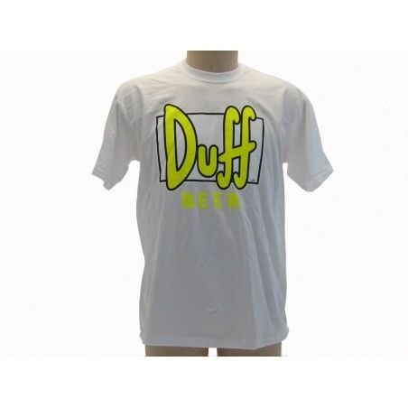 MAGLIA T SHIRT THE SIMPSONS DUFF BEER LOGO GIALLO FLUO BIANCA