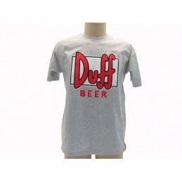 MAGLIA T SHIRT THE SIMPSONS DUFF BEER LOGO ROSSO GRIGIA