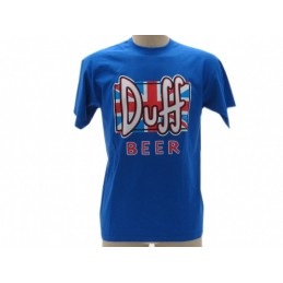 MAGLIA T SHIRT THE SIMPSONS DUFF BEER BANDIERA BLU