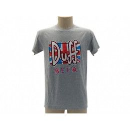 MAGLIA T SHIRT THE SIMPSONS DUFF BEER BANDIERA GRIGIA