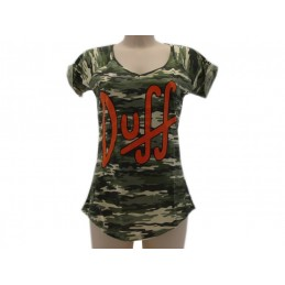 MAGLIA T SHIRT THE SIMPSONS DUFF BEER DONNA CAMO CAMOUFLAGE