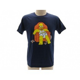 MAGLIA T SHIRT THE SIMPSONS DUFF BEER HOMER POLTRONA BLU