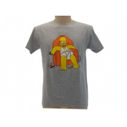 MAGLIA T SHIRT THE SIMPSONS DUFF BEER HOMER POLTRONA GRIGIA