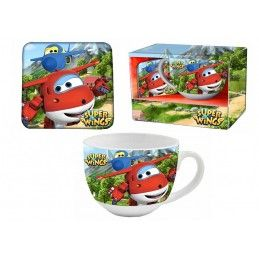 SUPER WINGS CERAMIC MUG TAZZA + SOTTOPIATTO