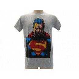 MAGLIA T SHIRT SUPERMAN BUSTO GRIGIA