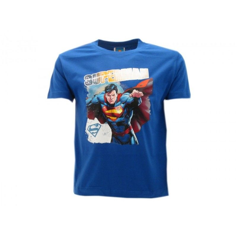 MAGLIA T SHIRT SUPERMAN COMICS BLU ROYAL