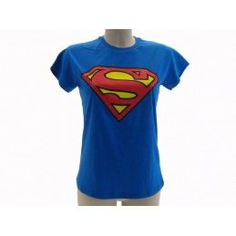 MAGLIA T SHIRT DONNA SUPERMAN LOGO BLU ROYAL
