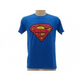 MAGLIA T SHIRT SUPERMAN LOGO VINTAGE BLU ROYAL