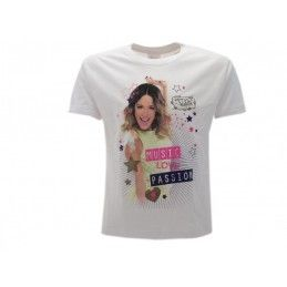 MAGLIA T SHIRT DISNEY VIOLETTA MUSIC LOVE PASSION BIANCA