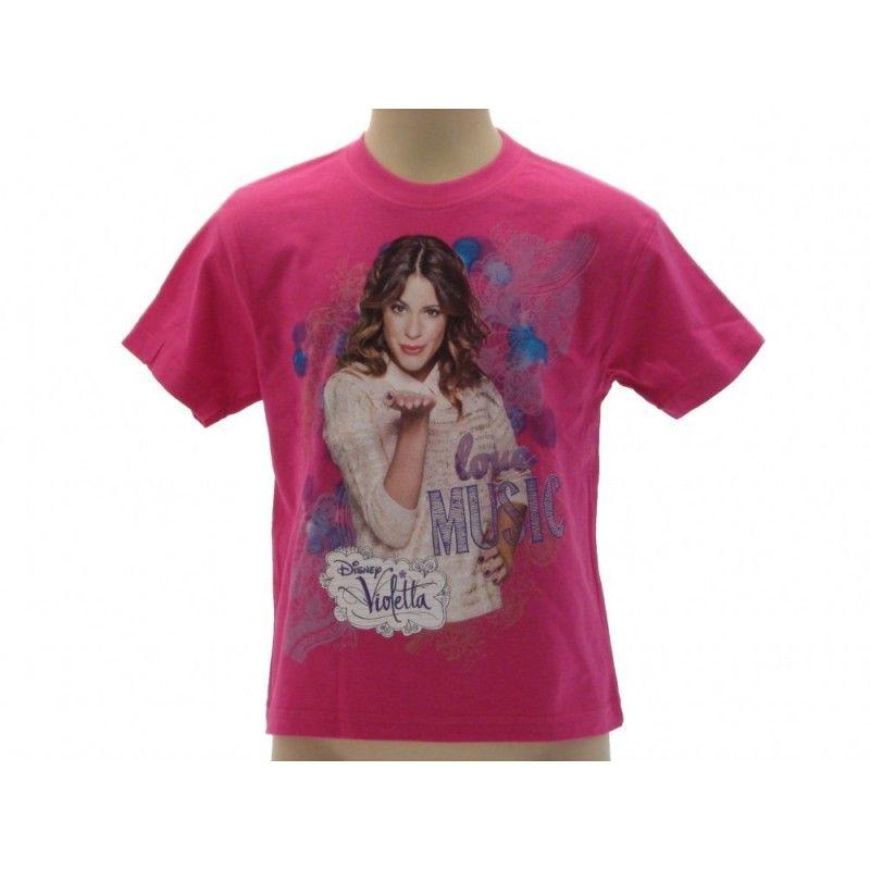 MAGLIA T SHIRT DISNEY VIOLETTA KISS MUSIC LOVE FUCSIA