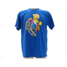 MAGLIA T SHIRT THE SIMPSONS MOTO HOMER BART BLU ROYAL