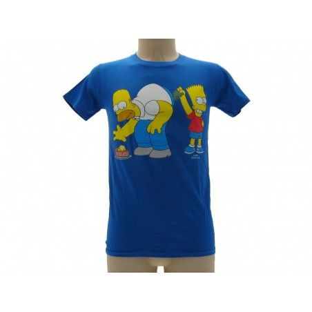 MAGLIA T SHIRT THE SIMPSONS SOLDI HOMER BART BLU ROYAL
