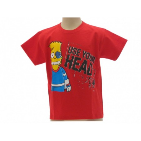 MAGLIA T SHIRT THE SIMPSONS BART USE YOUR HEAD ROSSA