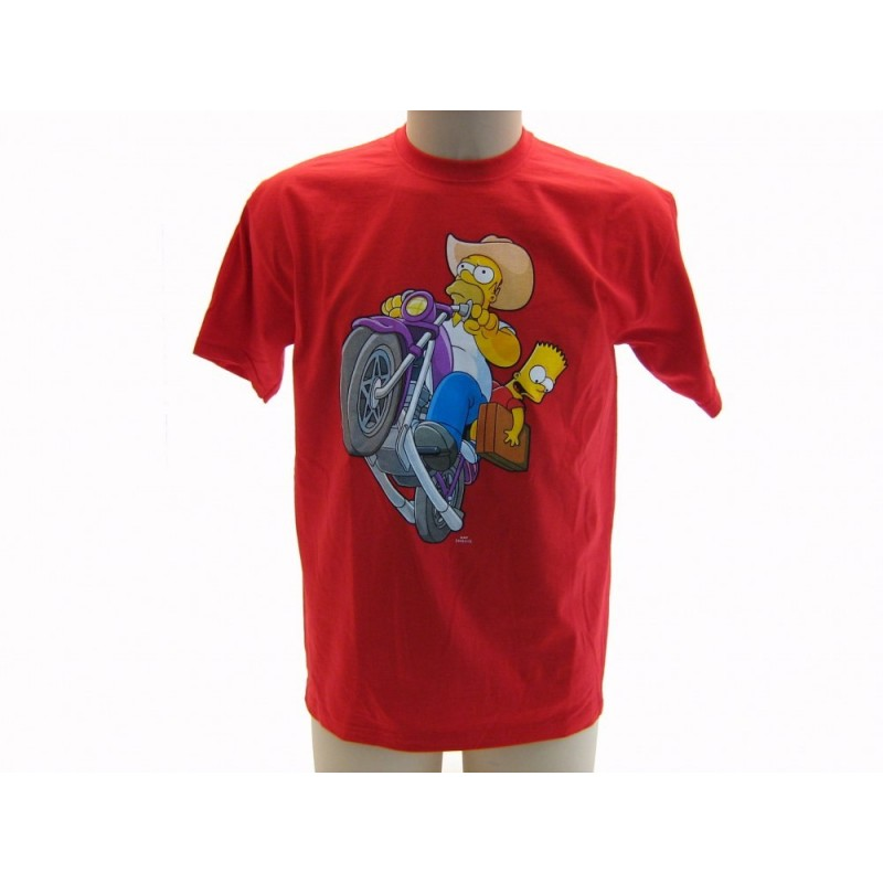 MAGLIA T SHIRT THE SIMPSONS MOTO HOMER BART ROSSA