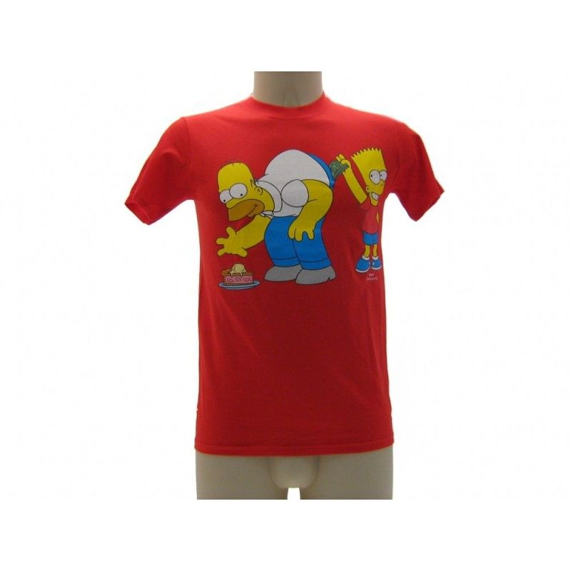 MAGLIA T SHIRT THE SIMPSONS SOLDI HOMER BART ROSSA
