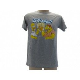 MAGLIA T SHIRT THE SIMPSONS HOMER BARNEY ALCOHOL GRIGIA