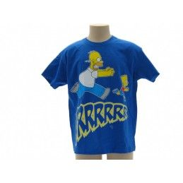 MAGLIA T SHIRT THE SIMPSONS HOMER BART GRRRR BLU ROYAL