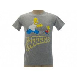MAGLIA T SHIRT THE SIMPSONS HOMER BART GRRRR GRIGIA