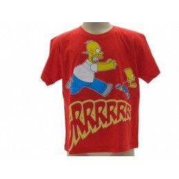 MAGLIA T SHIRT THE SIMPSONS HOMER BART GRRRR ROSSA