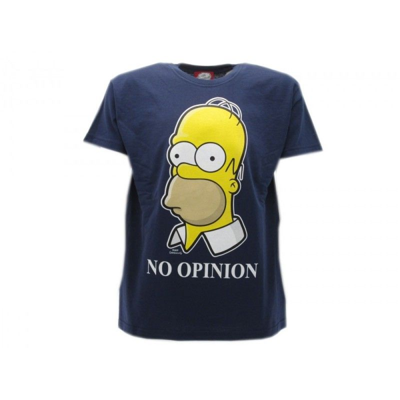 MAGLIA T SHIRT THE SIMPSONS HOMER NO OPINION BLU NAVY