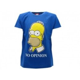 MAGLIA T SHIRT THE SIMPSONS HOMER NO OPINION BLU ROYAL