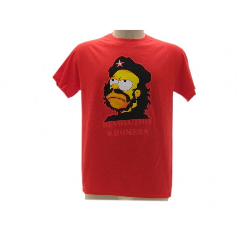 MAGLIA T SHIRT THE SIMPSONS HOMER REVOLUTION ROSSA