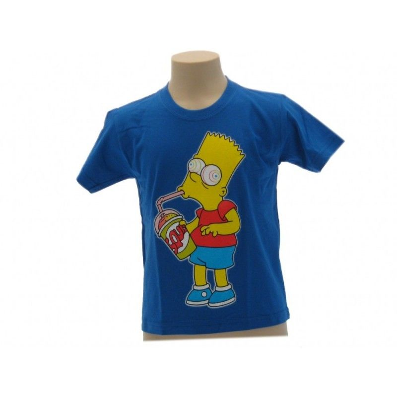 MAGLIA T SHIRT THE SIMPSONS BART SLURP BLU ROYAL