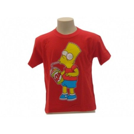 MAGLIA T SHIRT THE SIMPSONS BART SLURP ROSSA