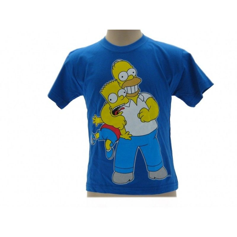 MAGLIA T SHIRT THE SIMPSONS HOMER BART STROZZO BLU ROYAL