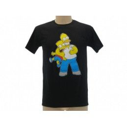 MAGLIA T SHIRT THE SIMPSONS HOMER BART STROZZO NERA