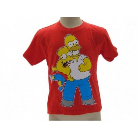 MAGLIA T SHIRT THE SIMPSONS HOMER BART STROZZO ROSSA
