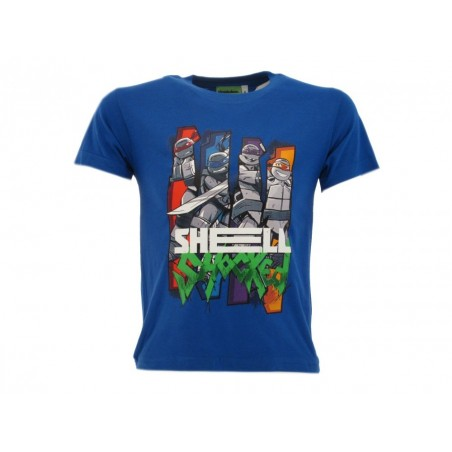 MAGLIA T SHIRT TMNT TARTARUGHE NINJA SHELL SHOCKED BLU ROYAL