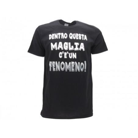MAGLIA T SHIRT UMORISTICHE FENOMENO DENTRO NERA