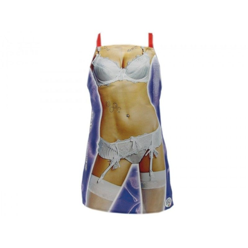 GREMBIULE RESINATO DONNA SEXY LINGERIE BIANCA