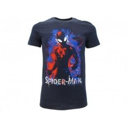 MAGLIA T SHIRT MARVEL SPIDERMAN BLACK BLU NAVY