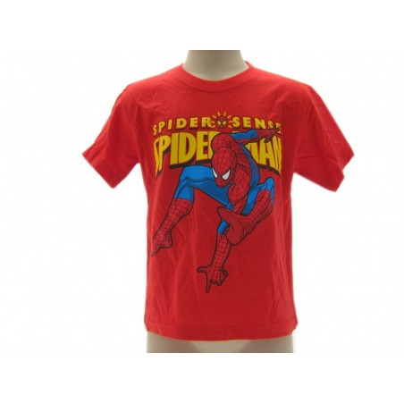 MAGLIA T SHIRT MARVEL SPIDERMAN SPIDER SENSE ROSSA