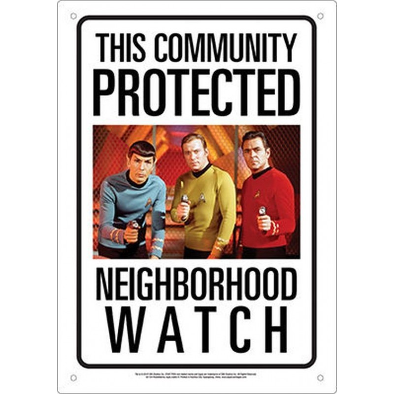 STAR TREK NEIGHBORHOOD WATCH METAL TIN SIGN TARGA METALLO 20X29