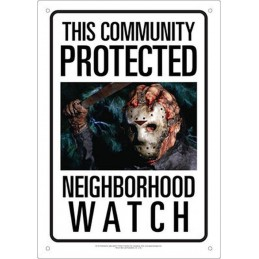 JASON VOORHEES NEIGHBORHOOD WATCH METAL TIN SIGN TARGA METALLO 20X29cm