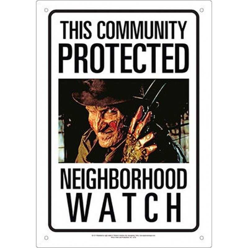 FREDDY KRUEGER NEIGHBORHOOD WATCH METAL TIN SIGN TARGA METALLO 20X29cm
