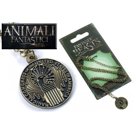 ANIMALI FANTASTICI - FANTASTIC BEASTS CONGRESS NECKLACE COLLANA CON CIONDOLO IN METALLO