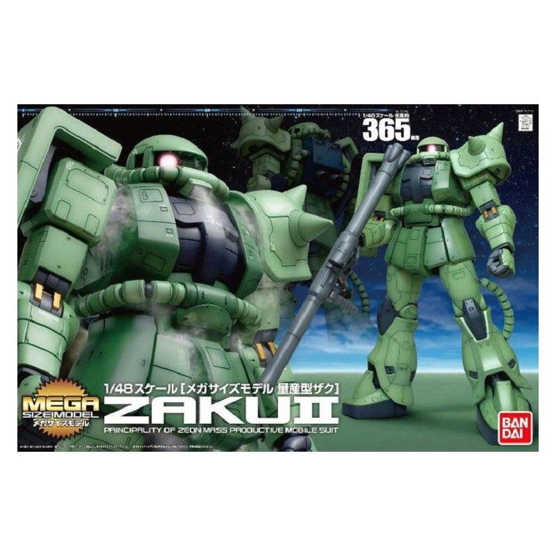 BANDAI MEGA SIZE MODEL MSM GUNDAM MS-06 ZAKU II 1/48 MODEL KIT