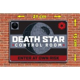 STAR WARS DEATH STAR MORTE NERA TIN SIGN PLACCA METALLO HALF MOON BAY