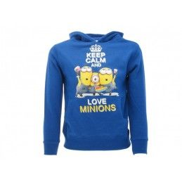 FELPA HOODIE CATTIVISSIMO ME KEEP CALM AND LOVE MINIONS BLU ROYAL