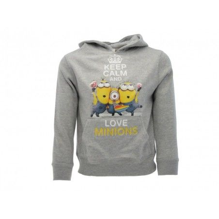 FELPA HOODIE CATTIVISSIMO ME KEEP CALM AND LOVE MINIONS GRIGIA
