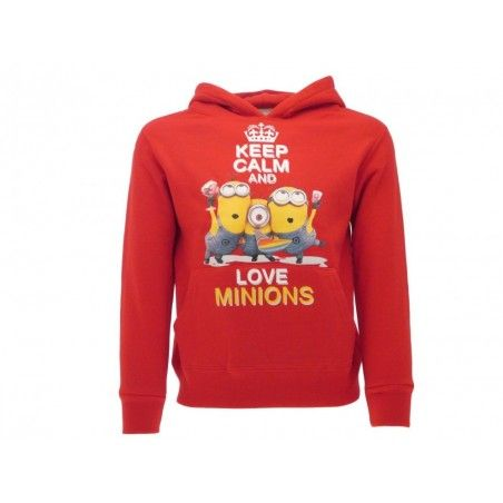 FELPA HOODIE CATTIVISSIMO ME KEEP CALM AND LOVE MINIONS ROSSA