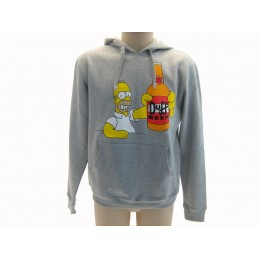 FELPA HOODIE THE SIMPSONS DUFF BEER HOMER GRIGIA