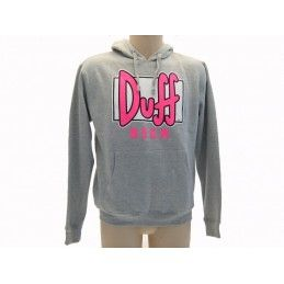 FELPA HOODIE THE SIMPSONS DUFF BEER LOGO FUCSIA FLUO GRIGIA