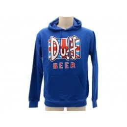 FELPA HOODIE THE SIMPSONS DUFF BEER BANDIERA INGLESE BLU